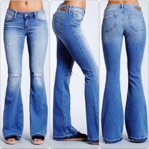 Mavi America PEACE Flare in Light Ripped Jeans 27